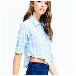 Blue and Lavender Button-Up Crop Top
